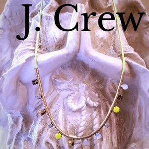 J. Crew Long Neon Green & Crystal Necklace
